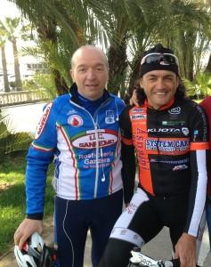 Claudio Chiappucci a Sanremo con Fabrizio Fusini , presidente UC Sanremo